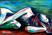 Nudes Painting Originals - Silent solitude by Helena Wierzbicki