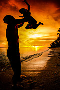 Water Play Art - Silhouette Family Of Child Hold On Father Hand by Anek Suwannaphoom