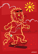 Friendly Digital Art - skateboarding Lion  by Martin Davey