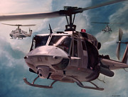 Helicopters Paintings - Skid Kids by Stephen Roberson