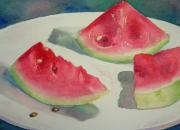 Fruit. Watermelon Paintings - 3 Slices by Lisa Pope