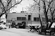 small trailer mobile home covered in snow in rural village of Forget Saskatchewan Canada Print by Joe Fox