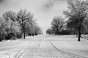 Snow Covered Street Framed Prints - snow covered street in small rural farming community village Forget Saskatchewan Canada Framed Print by Joe Fox