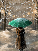 Umbrella Digital Art Framed Prints - Snow Framed Print by Veronica Minozzi