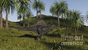 Spinosaurus Hunting In An Open Field Print by Kostyantyn Ivanyshen