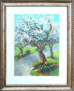 Yellow Daffodils Art Originals - Spring Cherry Blossoms by Nancy Heindl