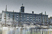 Victorian Inn Prints - St Katherines Dock London sketch Print by David Pyatt