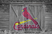 Baseball Glove Framed Prints - St Louis Cardinals Framed Print by Joe Hamilton