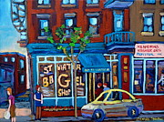 Montreal Bagels Framed Prints - St. Viateur Bagel Shop Framed Print by Carole Spandau