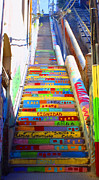 Graffiti Steps Prints - Stairway to Heaven Valparaiso  Chile Print by Kurt Van Wagner