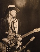 Theater Drawings - Stevie Ray Vaughan 1984 by Charles Rogers