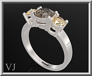 Smokey Quartz Jewelry - 3 Stones Ring - Yellow Topaz And Smoky Quartz Silver Engagement Ring by Roi Avidar
