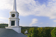 New England Village Framed Prints - Stowe Community Church steeple Framed Print by Don Landwehrle