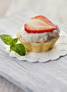 Frosting Posters - Strawberry cupcake Poster by Mythja  Photography