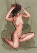 Nude Girl Mixed Media - Stylised nude girl drawing art sketch by Kim Wang