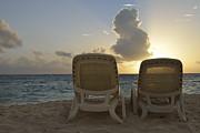 Sun Lounger On Tropical Beach Print by Sami Sarkis