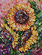 OLena Art - 3 Sunflowers Abstract