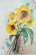 Gruenwald Mixed Media Framed Prints - Sunflowers Framed Print by Ismeta Gruenwald