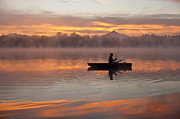 Balance In Life Photo Framed Prints - Sunrise in fog Lake Cassidy with fisherman in small fishing boat Framed Print by Jim Corwin