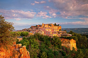 Red Buildings Posters - Sunrise over Roussillon Poster by Brian Jannsen