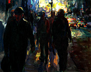 Crowd Scene Art - Sunset by Amalya Nane Tumanian
