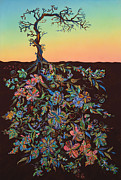 Aging Painting Posters - Sunset Poster by Erika Pochybova-Johnson