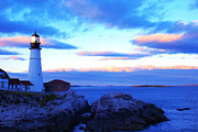 Lighthouse Digital Art - Sunset In Fork Williams Lighthouse Park Portland Maine State by Paul Ge