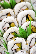Vegetable Photo Posters - Sushi platter Poster by Elena Elisseeva