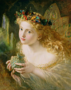 Butterflies Painting Prints - Take the Fair Face of Woman Print by Sophie Anderson