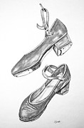 Dance Shoes Drawings Prints - Tap Shoes Print by Josie Duff