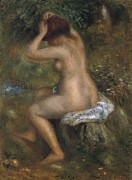 Hair-washing Painting Prints - The Bathers Print by Pierre-Auguste Renoir