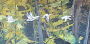 Francois Fournier Paintings - The Five Snow Geese by Francois Fournier