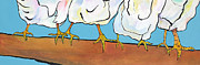 Barnyard Animal Paintings - The Four Clucks by Pat Saunders-White