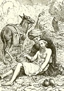 Donkey Drawings Prints - The Good Samaritan Print by English School