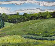 Field. Cloud Paintings - The green field  no2 by Francois Fournier
