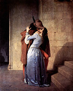 Doomed Love Framed Prints - The Kiss Framed Print by Francesco Hayez