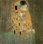 Lovers Painting Posters - The Kiss Poster by Gustav Klimt