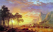 Bierstadt Framed Prints - The Oregon Trail Framed Print by Albert Bierstadt