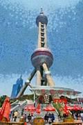 Television Paintings - The Oriental Pearl Tower by George Atsametakis