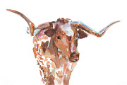 Original Texas Whimsey Prints - The Original Texas Longhorn Print by Kathleen McElwaine