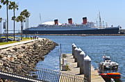 Power Plants Framed Prints - The Queen Mary Long Beach California. Framed Print by Gino Rigucci