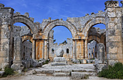 Qalat Framed Prints - The ruins of the church of St Simeon Syria Framed Print by Robert Preston