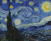 Hills Paintings - The Starry Night by Vincent Van Gogh