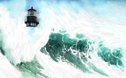 Seascape Pastels Posters - The Wave Poster by Stefan Kuhn