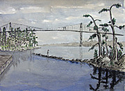 River View Paintings - Thousand Islands Bridge by Robert P Hedden
