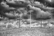 Crosses Photo Prints - Three Crosses on Hill Print by Thomas R Fletcher