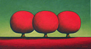 Trees Pastels - Three Happy Red Trees by Christopher Jackson