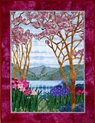 Border Tapestries - Textiles Framed Prints - Tiffany Landscape Framed Print by Jean Baardsen