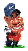 Tiger Woods Paintings - Tiger Woods by Art