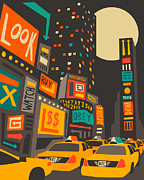Time Digital Art Prints - Time Square Print by Jazzberry Blue
